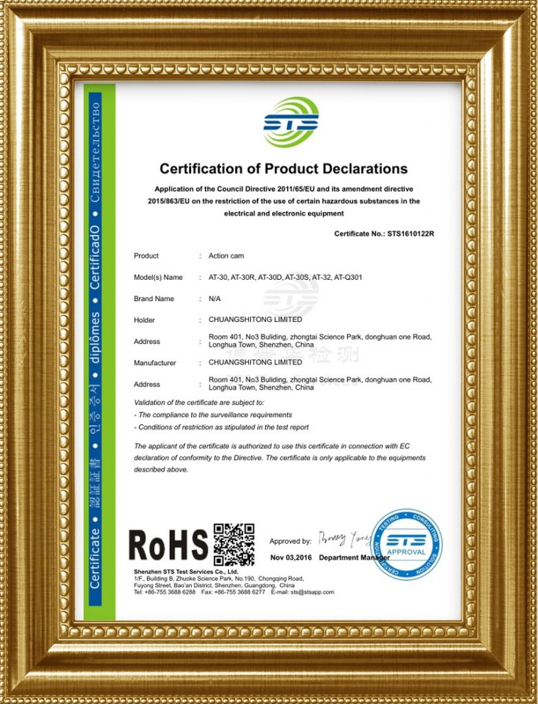 Rohs certificate for 4k action camera