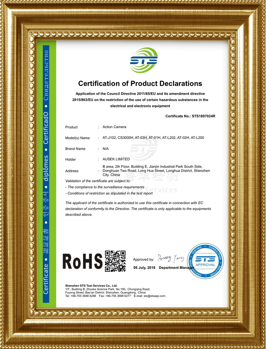 Rohs certificate for 1080p action camera