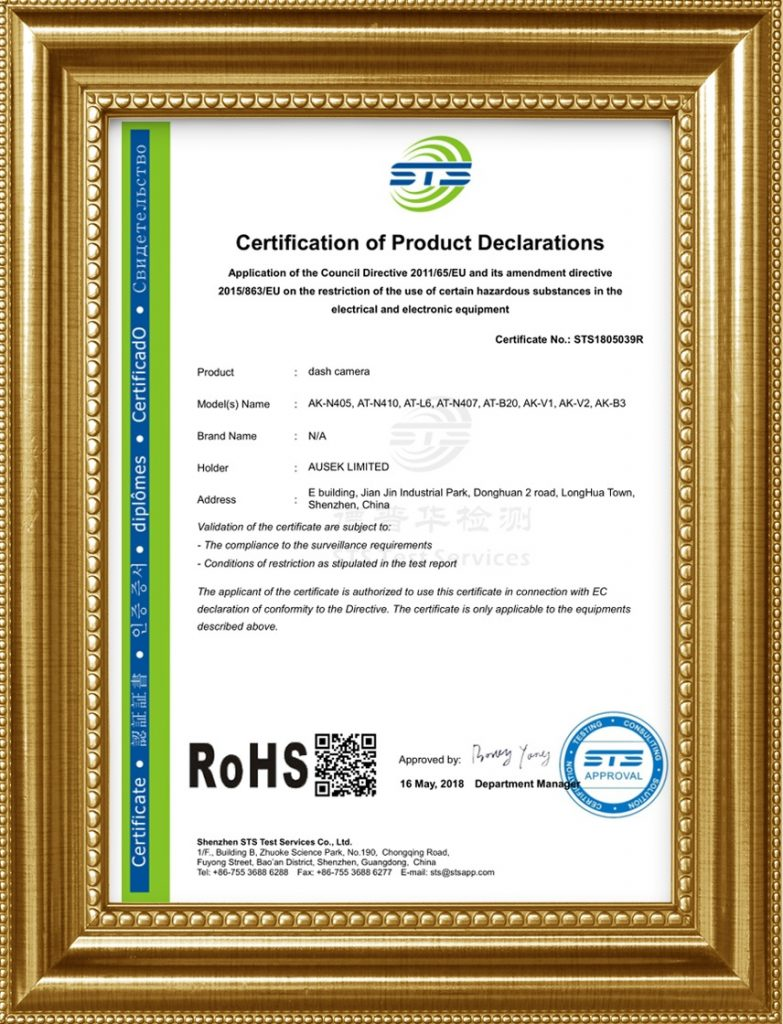 Rohs certificate for dash cam