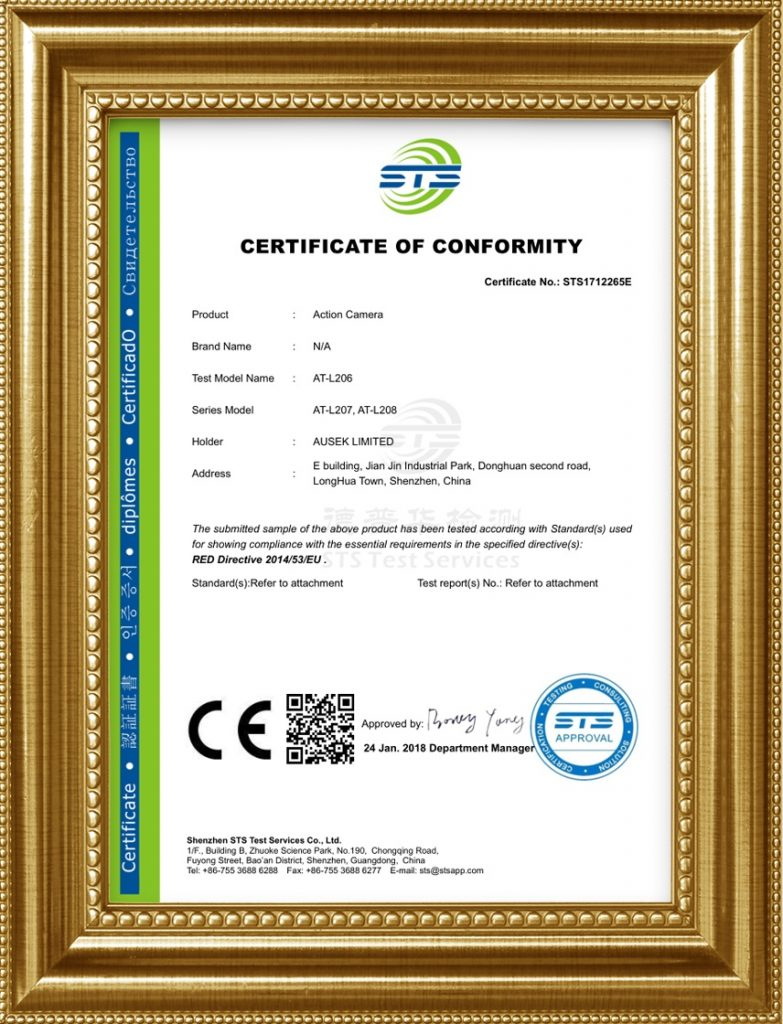 CE certificate for 1080p wifi action camera