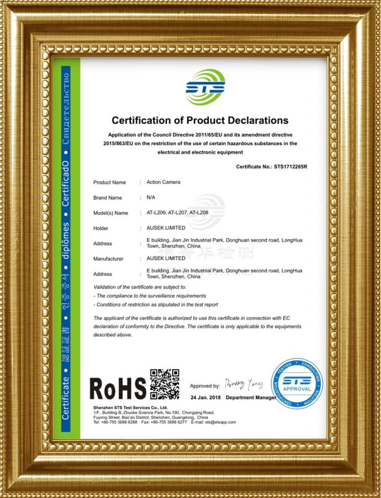 Rohs certificate for 1080p wifi action camera
